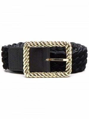 Ремень с плетеной пряжкой B-Low The Belt. Цвет: черный