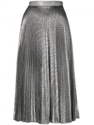 Плиссированная юбка из ткани ламе Christopher Kane. Цвет: черный