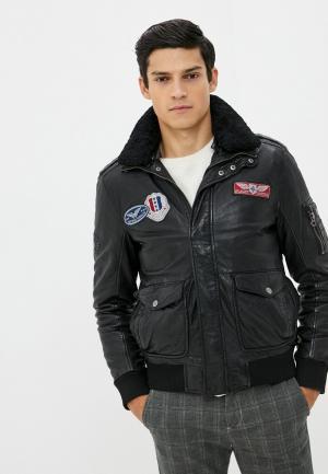 Куртка кожаная Gipsy. Цвет: черный