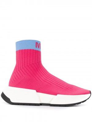 Кроссовки-носки в стиле колор-блок MM6 Maison Margiela. Цвет: розовый