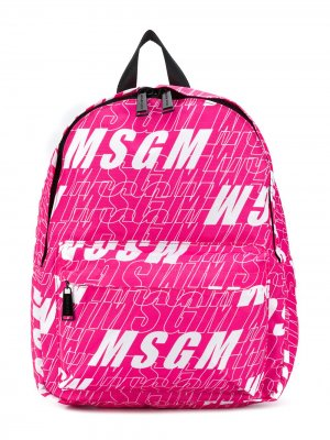 Рюкзак с логотипом Msgm Kids. Цвет: розовый