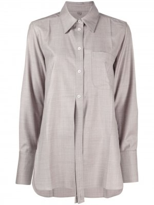 Рубашка с разрезами спереди Peter Do. Цвет: серый
