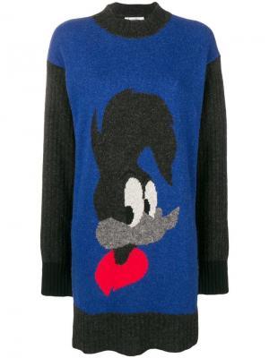 Платье свитер с принтом Jc De Castelbajac Vintage. Цвет: синий