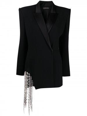 Платье строгого кроя с кристаллами David Koma. Цвет: черный
