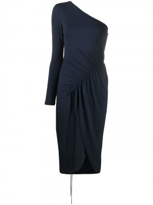 Платье на одно плечо со сборками Cushnie. Цвет: синий