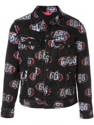 Джинсовая куртка 666 Supreme. Цвет: красный