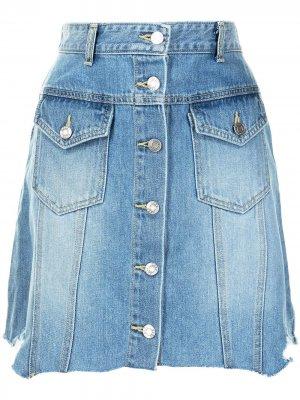Джинсовая юбка мини с необработанным подолом SJYP. Цвет: синий