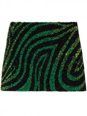Мини-юбка с пайетками Ashish. Цвет: зеленый