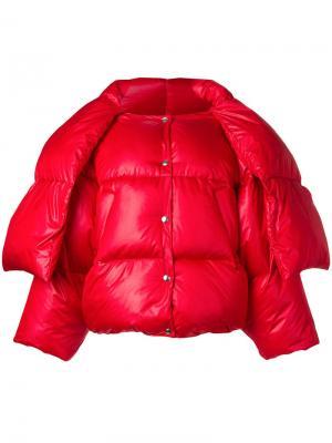 Дутая куртка с горловиной на завязке Hache. Цвет: красный