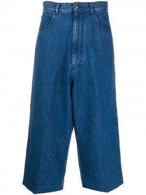 Укороченные джинсы широкого кроя Haikure. Цвет: синий