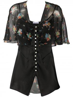 Полупрозрачная блузка с цветочным принтом Paco Rabanne. Цвет: черный