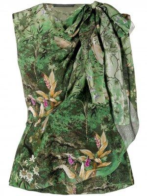 Блузка без рукавов с драпировкой Alberta Ferretti. Цвет: зеленый