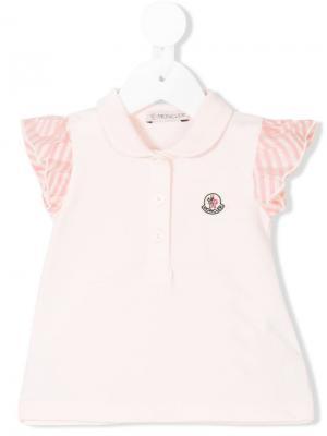 Рубашка-поло с оборочными рукавами Moncler Kids. Цвет: розовый