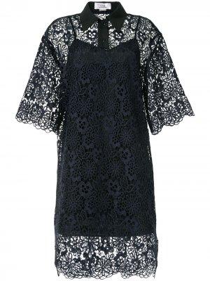 Кружевное платье-трапеция Victoria Beckham. Цвет: синий