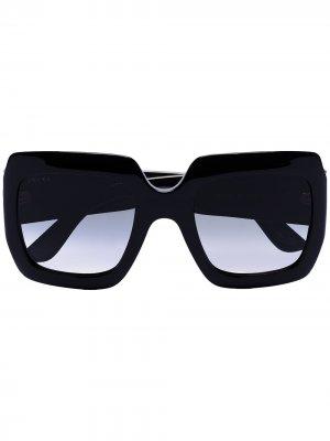 Солнцезащитные очки в квадратной оправе с логотипом GG Gucci Eyewear. Цвет: черный