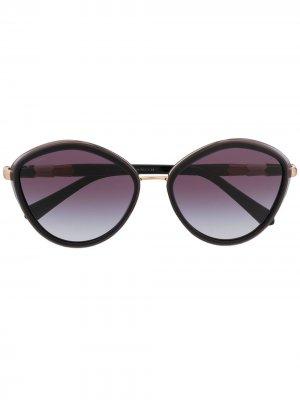 Солнцезащитные очки Serpenti в круглой оправе Bvlgari. Цвет: черный