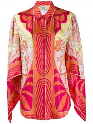Блузка с драпировкой и принтом Emilio Pucci. Цвет: оранжевый