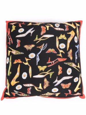 Подушка с цветочным принтом Salvatore Ferragamo. Цвет: черный