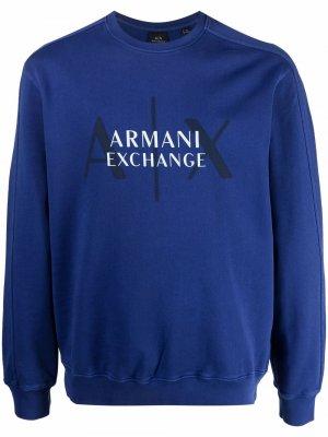 Пуловер с логотипом Armani Exchange. Цвет: синий