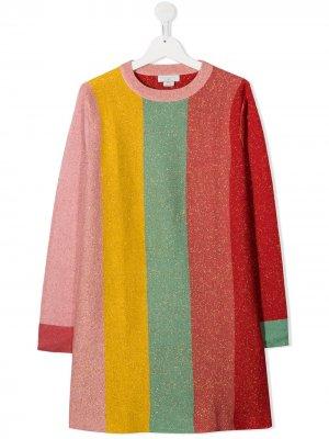Трикотажное платье в стиле колор-блок Stella McCartney Kids. Цвет: красный