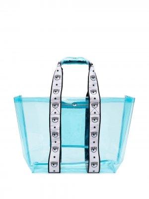 Прозрачная сумка-тоут Chiara Ferragni. Цвет: синий