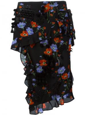 Юбка-карандаш с цветочным принтом и рюшами Nº21. Цвет: чёрный