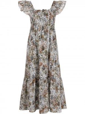 Платье миди с оборками Sea. Цвет: нейтральные цвета