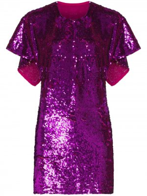Платье-кейп длины мини с пайетками Ashish. Цвет: розовый