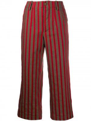 Укороченные брюки в полоску Uma Wang. Цвет: коричневый