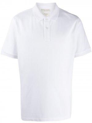 Рубашка-поло с воротником в рубчик Bottega Veneta. Цвет: белый
