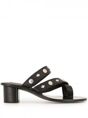 Лоферы с открытым носком и заклепками Senso. Цвет: черный