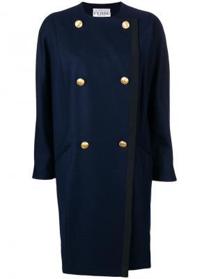 Двубортное пальто без воротника Gianfranco Ferré Pre-Owned. Цвет: синий