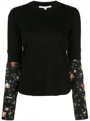 Джемпер с контрастными рукавами Veronica Beard. Цвет: черный