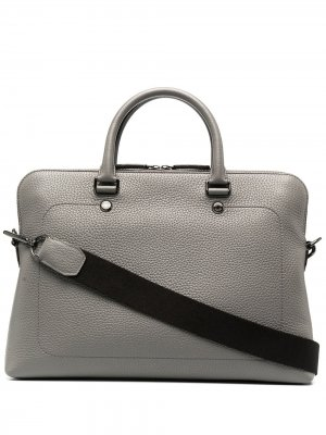 Узкий портфель City из зернистой кожи Mulberry. Цвет: серый