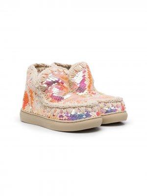 Ботинки с пайетками и декоративной строчкой Mou Kids. Цвет: нейтральные цвета