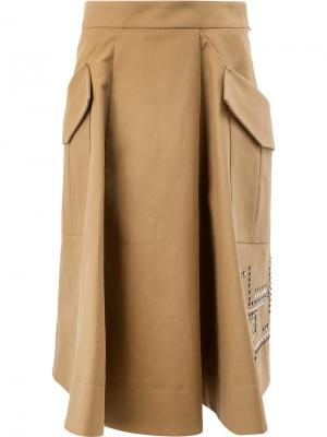 А-образная юбка с бисерной отделкой Carven. Цвет: коричневый