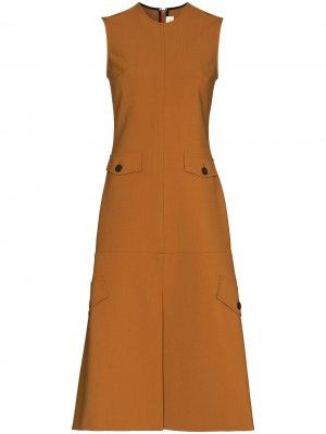 Расклешенное платье миди без рукавов Victoria Beckham. Цвет: коричневый