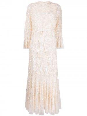 Платье с вышивкой пайетками Needle & Thread. Цвет: нейтральные цвета