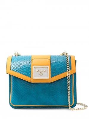Сумка-тоут с логотипом Pollini. Цвет: синий