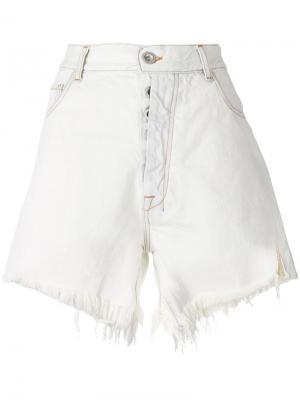 Джинсовые шорты с бахромой Unravel Project. Цвет: белый