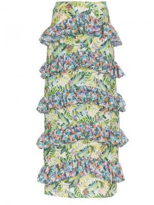 Юбка макси с цветочным принтом All Things Mochi. Цвет: зеленый