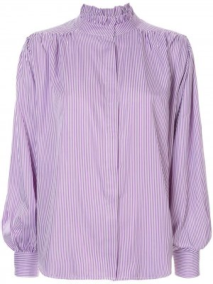 Блузка в тонкую полоску с плиссировкой Bambah. Цвет: фиолетовый
