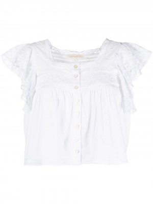 Блузка с кружевом LoveShackFancy. Цвет: белый