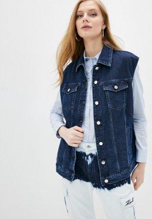 Жилет джинсовый Karl Lagerfeld Denim. Цвет: синий