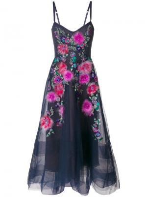 Вечернее платье с декором в форме цветов Marchesa Notte. Цвет: синий