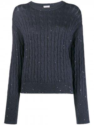 Пуловер с расклешенными манжетами Brunello Cucinelli. Цвет: синий