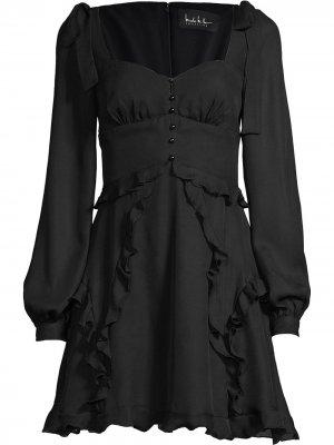 Платье миди с завязками Nicole Miller. Цвет: черный