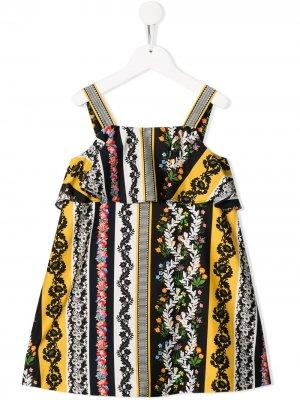 Платье-трапеция с цветочным принтом Oscar De La Renta Kids. Цвет: черный