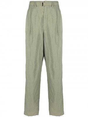 Прямые брюки с поясом Lemaire. Цвет: зеленый