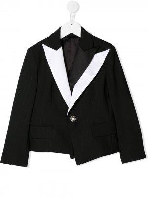 Многослойный пиджак с контрастными лацканами Balmain Kids. Цвет: черный